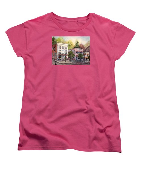 Women's T-Shirt (Standard Cut) featuring the painting Historic Blue Ridge Shops by Gretchen Allen