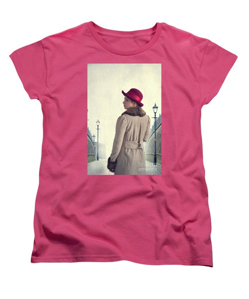 Historical Woman In An Overcoat And Red Hat Women's T-Shirt (Standard Cut) by Lee Avison