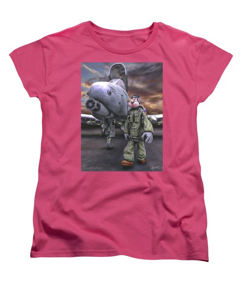 Women's T-Shirt (Standard Cut) featuring the painting Hogman by Dave Luebbert