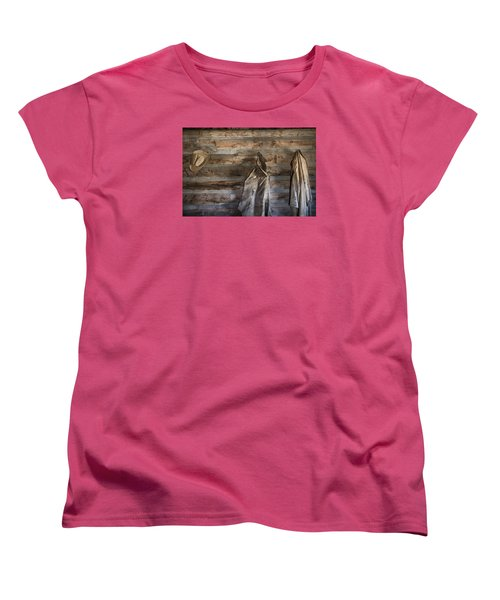 Hole-in-the-wall Cabin At Old Trail Town In Cody In Wyoming Women's T-Shirt (Standard Cut) by Carol M Highsmith