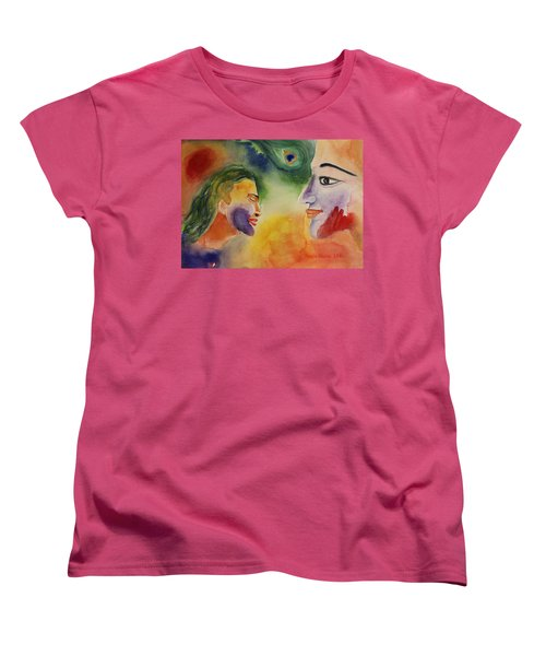 Women's T-Shirt (Standard Cut) featuring the painting Holi The Festival Of Colors by Geeta Biswas