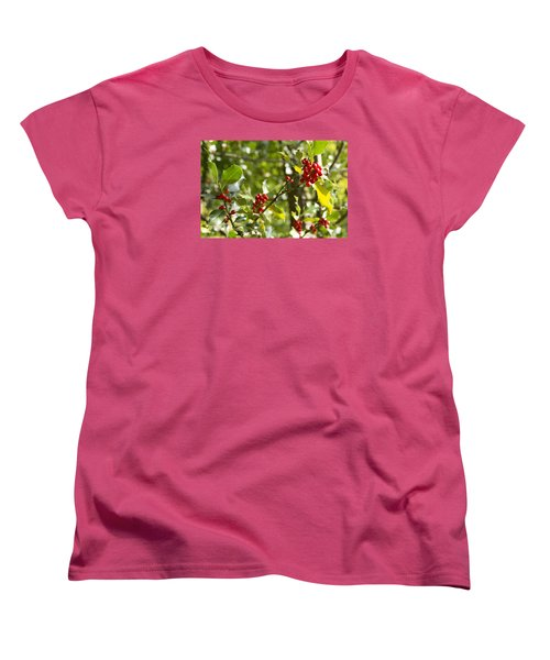 Women's T-Shirt (Standard Cut) featuring the photograph Holly With Berries by Chevy Fleet