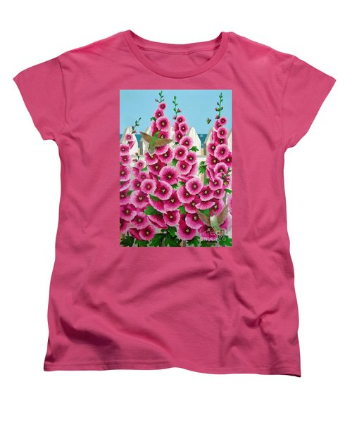 Women's T-Shirt (Standard Cut) featuring the painting Hollyhocks And Humming Birds by Katherine Young-Beck