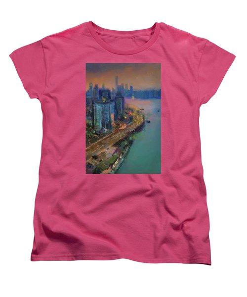 Hong Kong Skyline Painting Women's T-Shirt (Standard Cut)