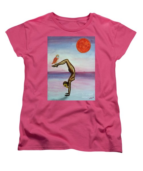 Women's T-Shirt (Standard Cut) featuring the painting Honoring Owl by Steed Edwards