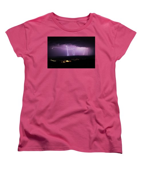Women's T-Shirt (Standard Cut) featuring the photograph Horizontal And Vertical Lightning by Ron Chilston