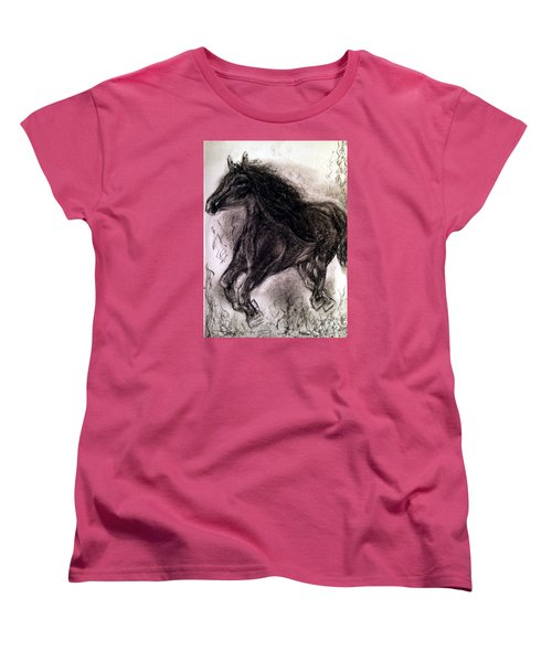 Women's T-Shirt (Standard Cut) featuring the painting Horse by Brindha Naveen