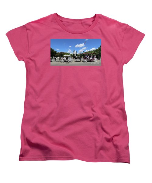 Women's T-Shirt (Standard Cut) featuring the photograph Horse Carriages by Steven Spak