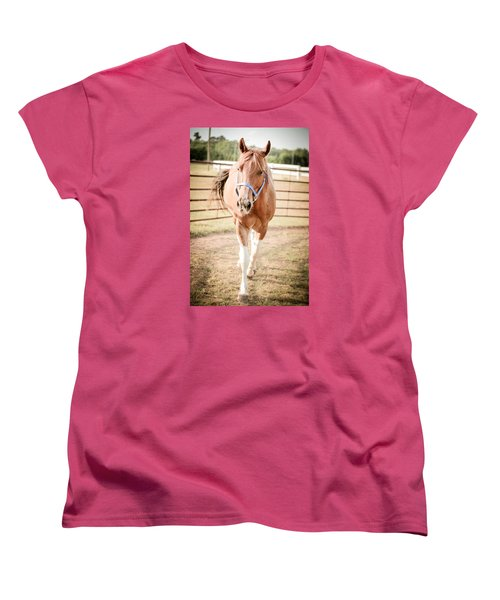 Women's T-Shirt (Standard Cut) featuring the photograph Horse Walking Toward Camera by Kelly Hazel