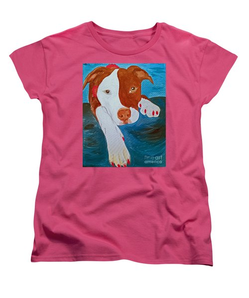 Women's T-Shirt (Standard Cut) featuring the painting Hot Pink Nails Lady by Ania M Milo