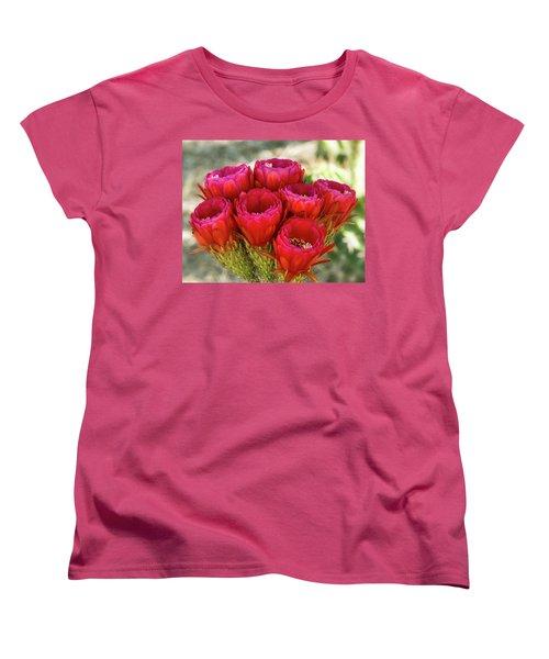 Women's T-Shirt (Standard Cut) featuring the photograph Hot Pink Torch Cactus Bouquet  by Saija Lehtonen
