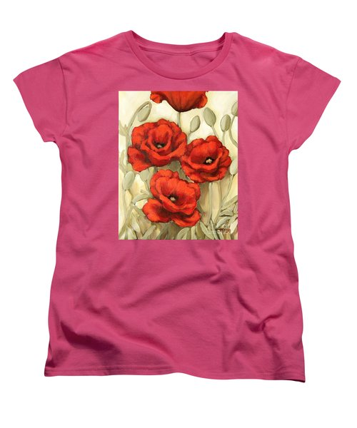 Women's T-Shirt (Standard Cut) featuring the painting Hot Red Poppies by Inese Poga