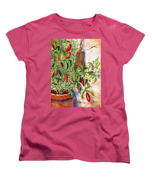 Women's T-Shirt (Standard Cut) featuring the painting Hot Sauce On The Vine by Marilyn Smith