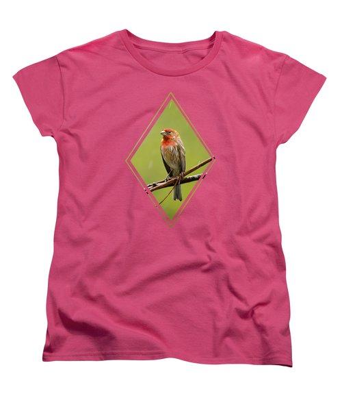 House Finch In The Rain Women's T-Shirt (Standard Cut) by Christina Rollo