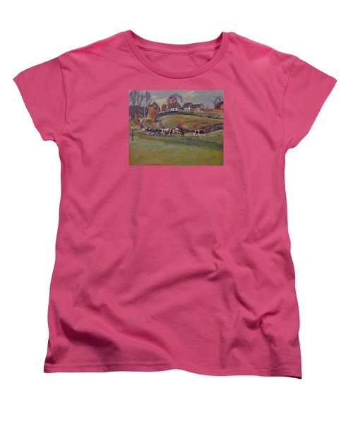 Women's T-Shirt (Standard Cut) featuring the painting Houses And Cows In Schweiberg by Nop Briex