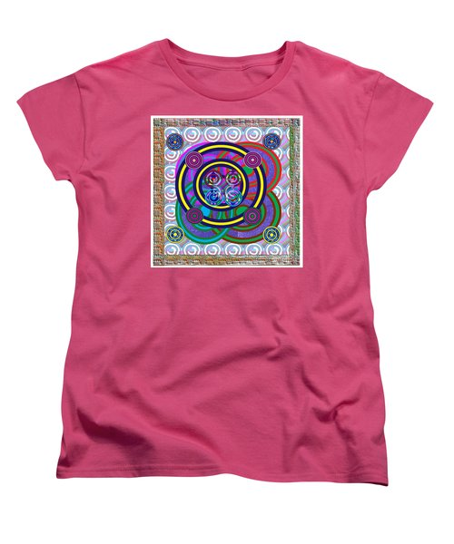 Hula Hoop Circles Tubes Girls Games Abstract Colorful Wallart Interior Decorations Artwork By Navinj Women's T-Shirt (Standard Cut) by Navin Joshi