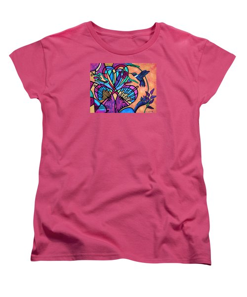 Women's T-Shirt (Standard Cut) featuring the painting Hummingbird And Stained Glass Hearts by Lori Miller