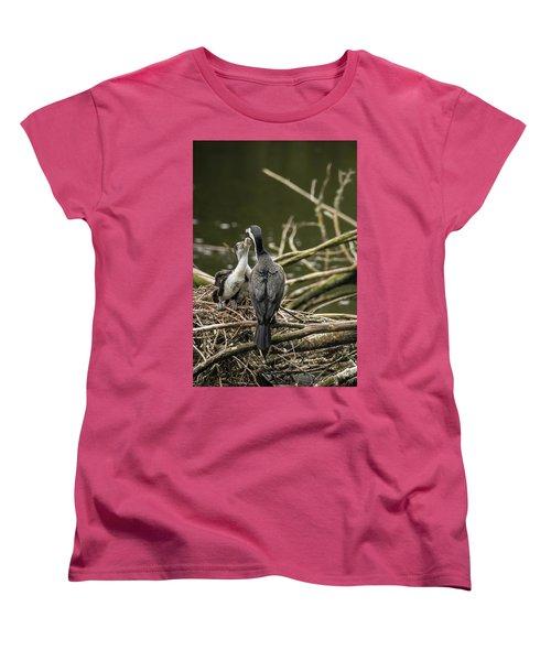 Hungry Pied Shag Chicks Women's T-Shirt (Standard Cut) by Racheal Christian