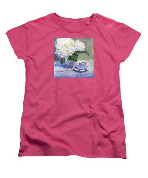 Women's T-Shirt (Standard Cut) featuring the painting Hydrangeas With Pearls  by Jennifer Beaudet