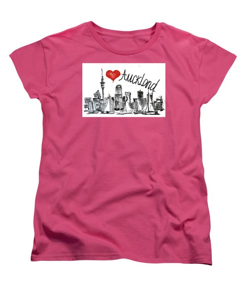 Women's T-Shirt (Standard Cut) featuring the drawing I Love Auckland  by Sladjana Lazarevic