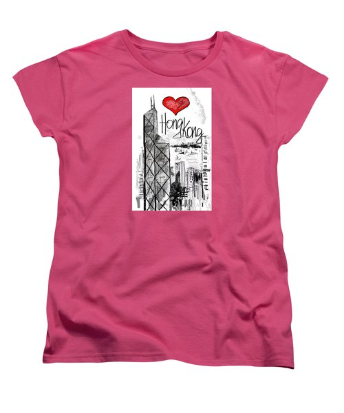 Women's T-Shirt (Standard Cut) featuring the drawing I Love Hong Kong  by Sladjana Lazarevic
