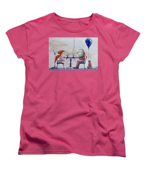 Women's T-Shirt (Standard Cut) featuring the painting I Love Paris Grandpa by Geni Gorani
