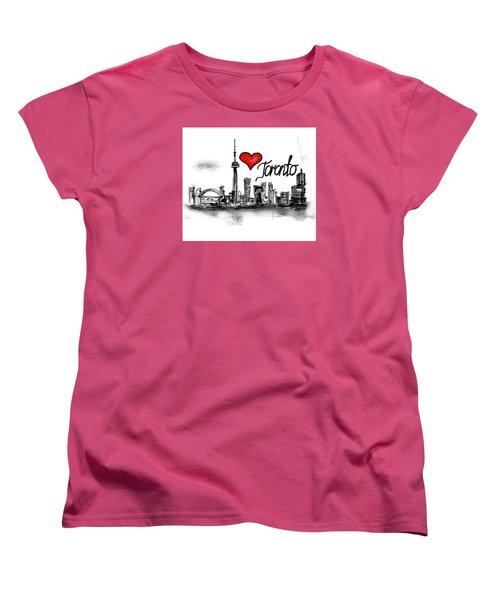 Women's T-Shirt (Standard Cut) featuring the drawing I Love Toronto by Sladjana Lazarevic