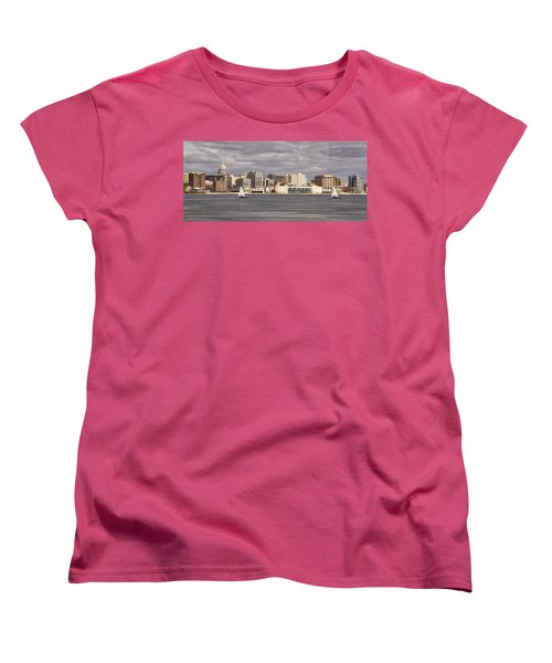 Ice Sailing - Lake Monona - Madison - Wisconsin Women's T-Shirt (Standard Cut) by Steven Ralser