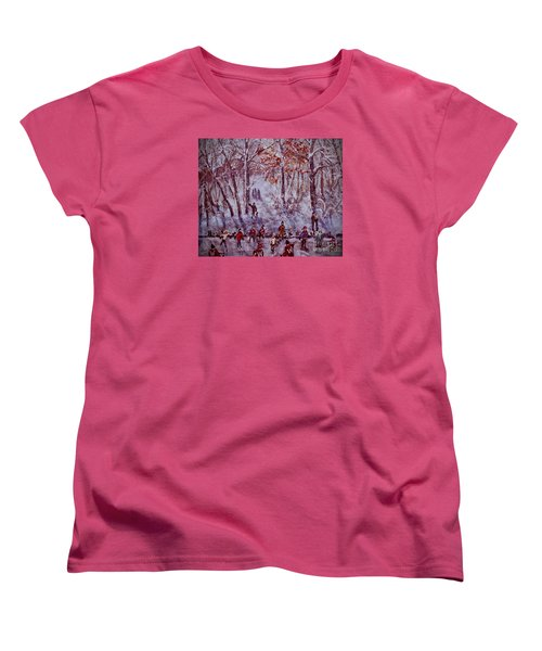 Ice Skating On Hardy Pond Women's T-Shirt (Standard Cut) by Rita Brown