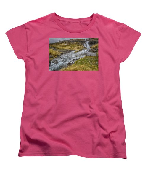 Women's T-Shirt (Standard Cut) featuring the tapestry - textile Iceland Fjord by Kathy Adams Clark