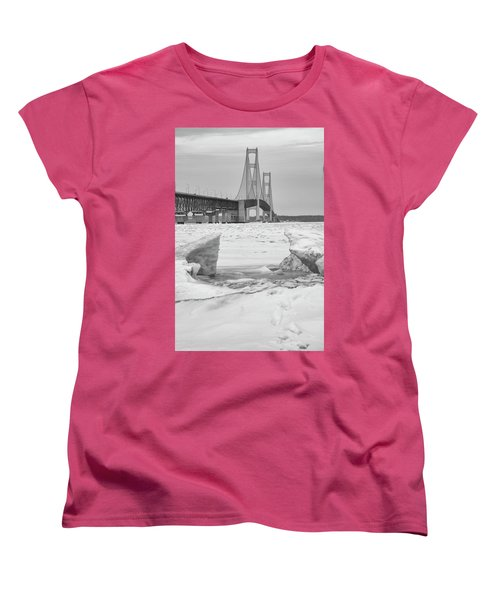 Women's T-Shirt (Standard Cut) featuring the photograph Icy Black And White Mackinac Bridge  by John McGraw