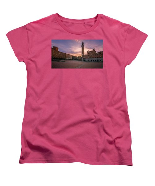 Women's T-Shirt (Standard Cut) featuring the photograph Il Campo Dawn Siena Italy by Joan Carroll