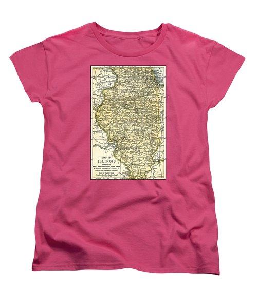 Illinois Antique Map 1891 Women's T-Shirt (Standard Cut) by Phil Cardamone