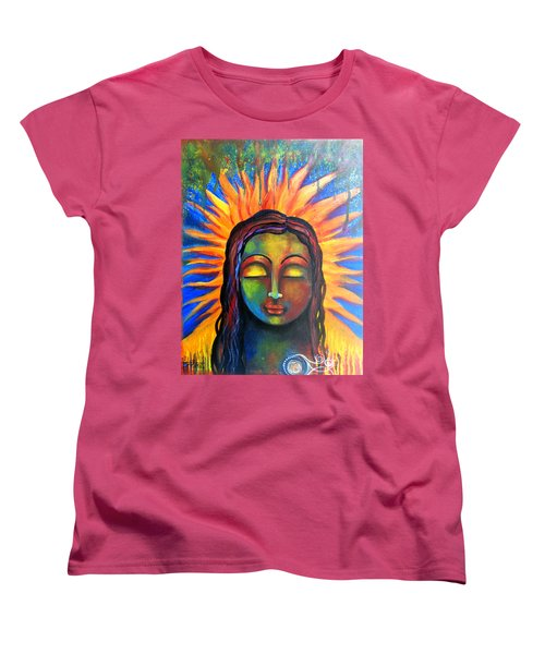 Women's T-Shirt (Standard Cut) featuring the mixed media Illuminated By Her Own Radiant Self by Prerna Poojara