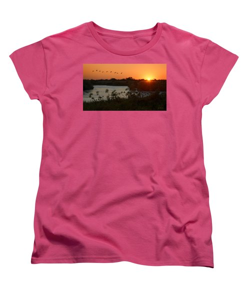 Impalila Island Sunrise Women's T-Shirt (Standard Cut) by Joe Bonita