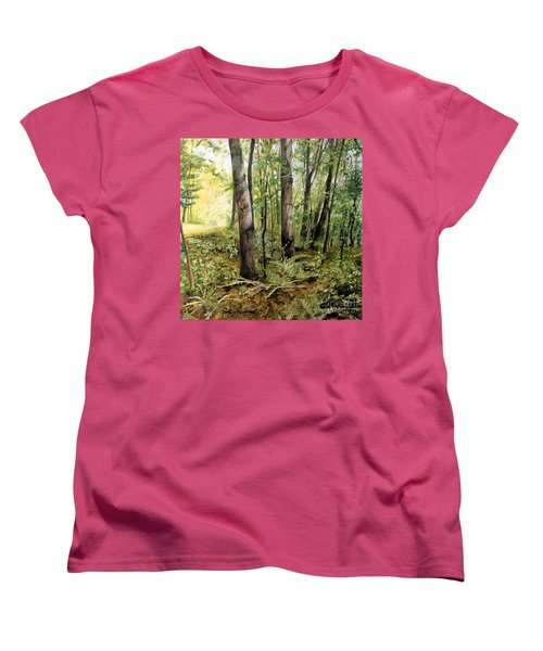 Women's T-Shirt (Standard Cut) featuring the painting In The Shaded Forest  by Laurie Rohner