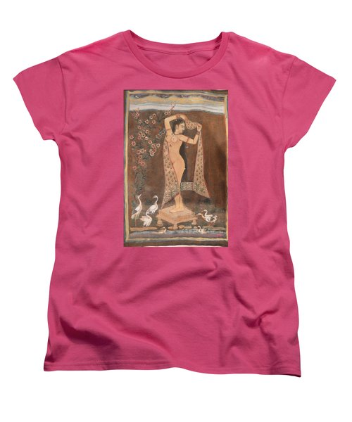 Women's T-Shirt (Standard Cut) featuring the painting Indian Lady After Swim by Vikram Singh