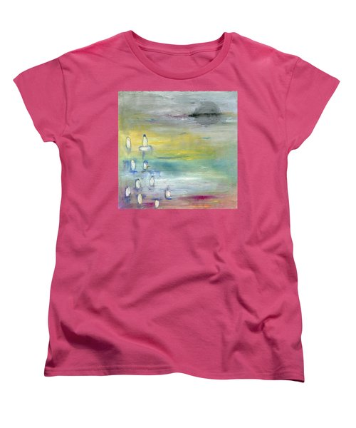 Women's T-Shirt (Standard Cut) featuring the painting Indian Summer Over The Pond by Michal Mitak Mahgerefteh
