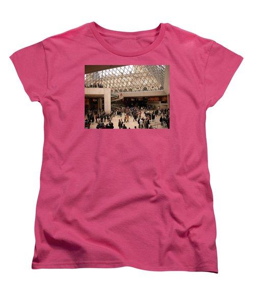 Women's T-Shirt (Standard Cut) featuring the photograph Inside Louvre Museum Pyramid by Mark Czerniec