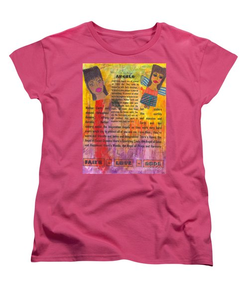 Women's T-Shirt (Standard Cut) featuring the mixed media Inspiration Angels II by Angela L Walker