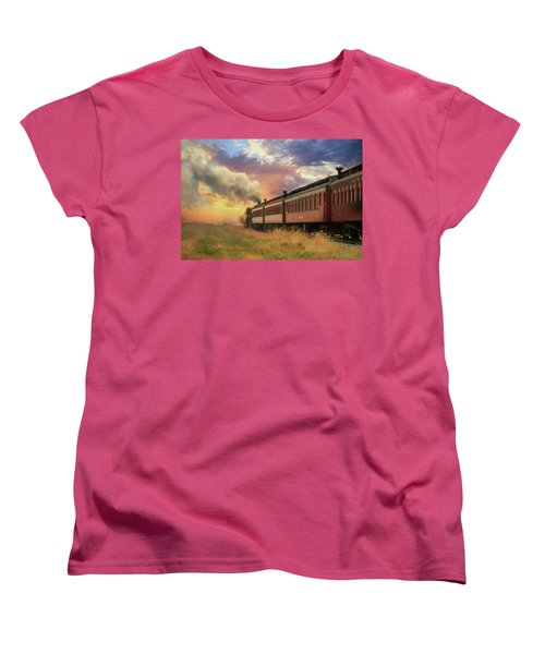 Women's T-Shirt (Standard Cut) featuring the mixed media Into The Sunset by Lori Deiter
