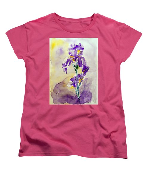Women's T-Shirt (Standard Cut) featuring the painting Iris 2 by Jasna Dragun