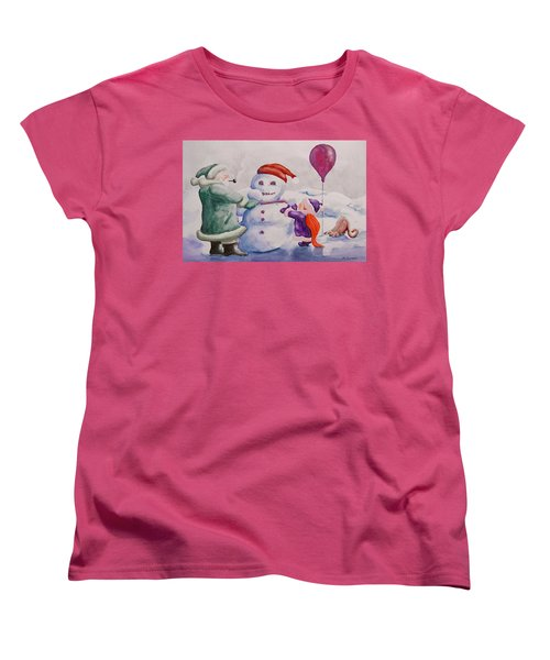 Women's T-Shirt (Standard Cut) featuring the painting It's Cold Grandpa by Geni Gorani