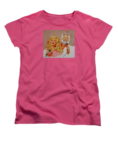 Its Country - 8  Dolly Parton Kenny Rogers Women's T-Shirt (Standard Cut) by Cliff Spohn