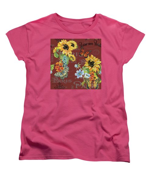 Women's T-Shirt (Standard Cut) featuring the painting Jaime Mon Jardin-jp3988 by Jean Plout