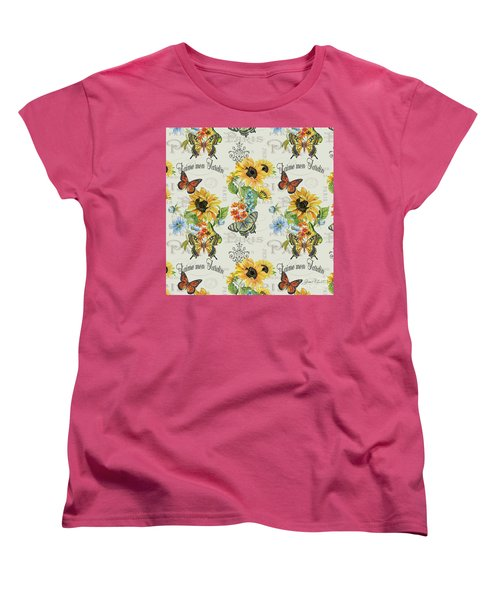 Women's T-Shirt (Standard Cut) featuring the painting Jaime Mon Jardin-jp3989 by Jean Plout