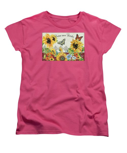 Women's T-Shirt (Standard Cut) featuring the painting Jaime Mon Jardin-jp3990 by Jean Plout