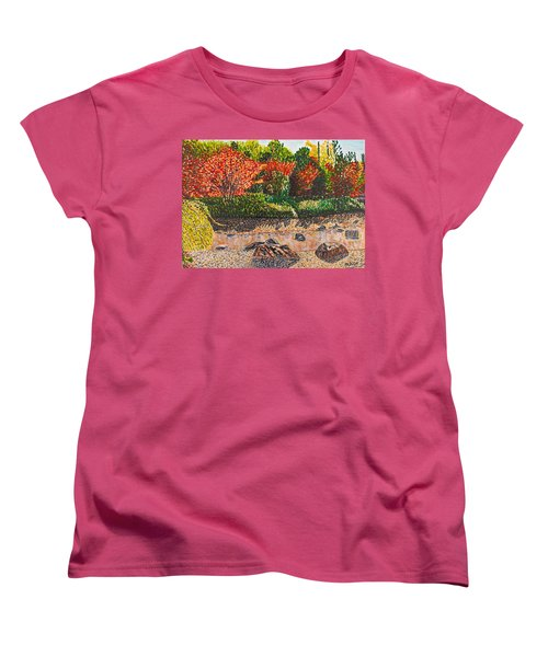 Japanese Maple Trees At The Creek Women's T-Shirt (Standard Cut) by Valerie Ornstein
