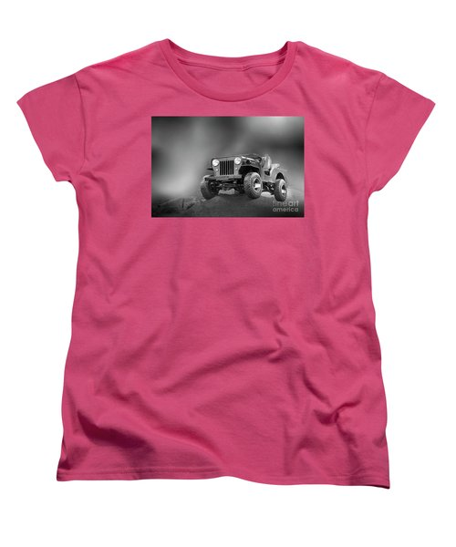 Women's T-Shirt (Standard Cut) featuring the photograph Jeep Bw by Charuhas Images