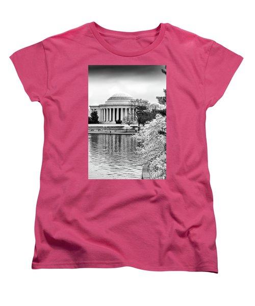 Jefferson Memorial Cherry Blosum Time Women's T-Shirt (Standard Cut) by Paul Seymour
